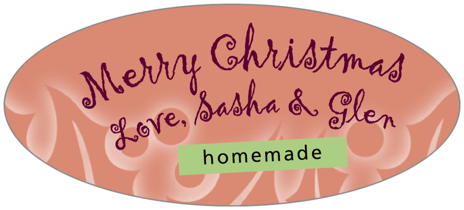 oval food/craft labels - pale cinnamon - holly glow (set of 30)