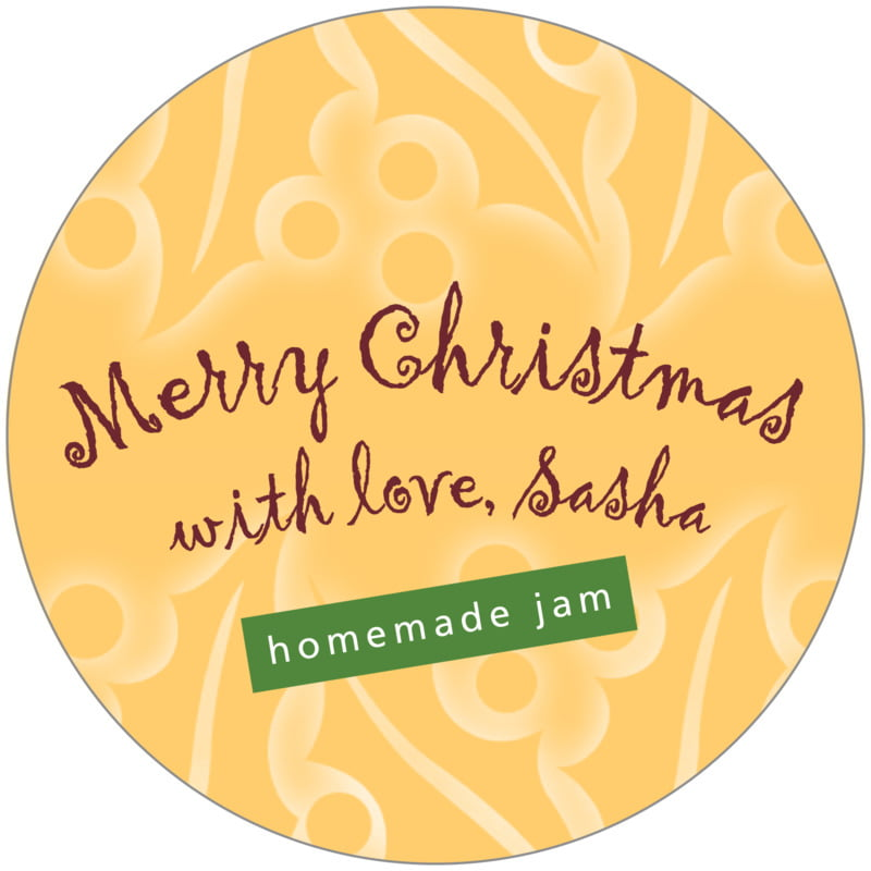 circle food/craft labels - deep gold - holly glow (set of 12)