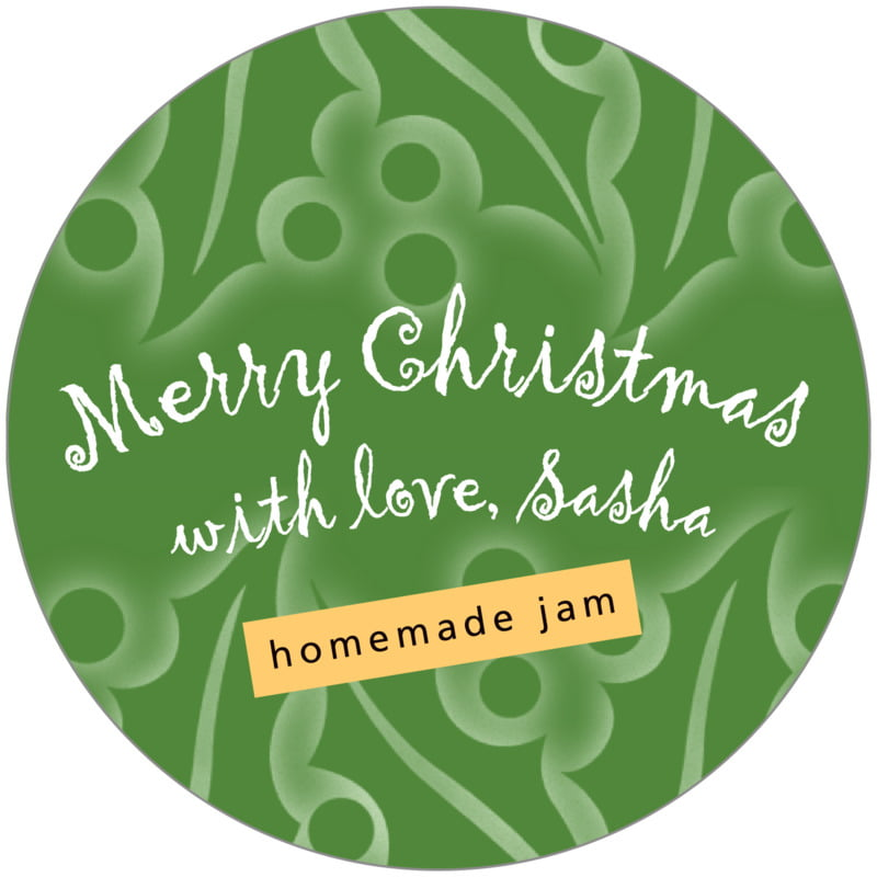 circle food/craft labels - green - holly glow (set of 12)