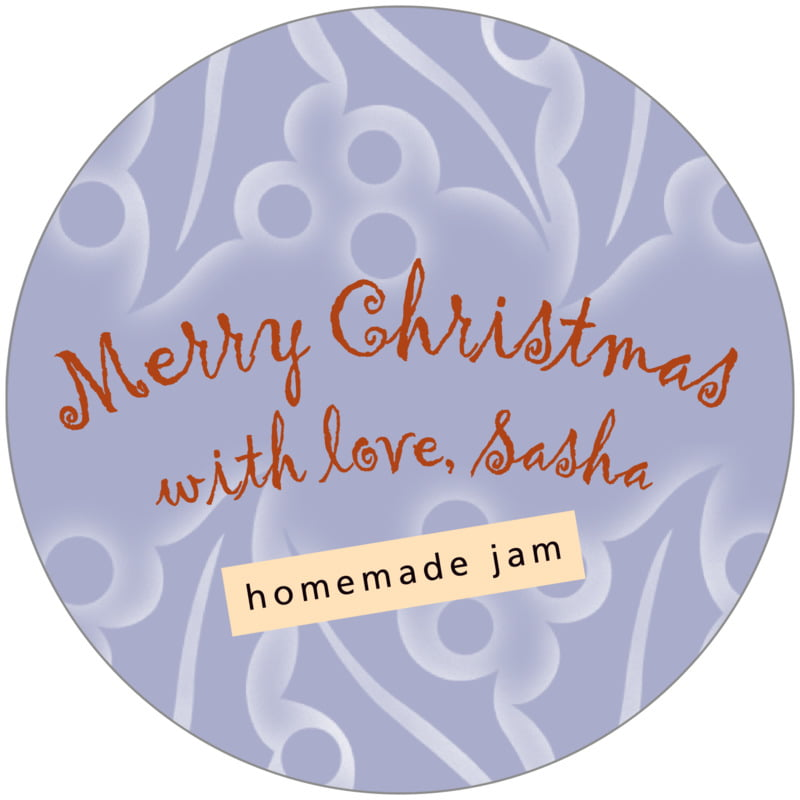 circle food/craft labels - pale blue - holly glow (set of 12)