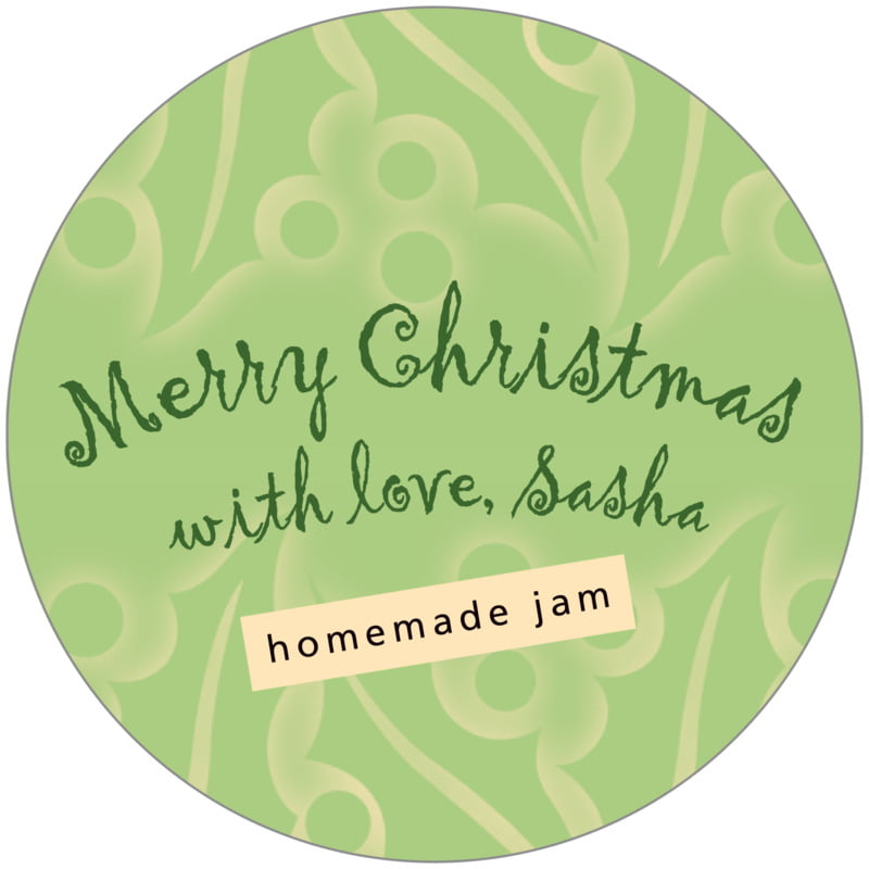 circle food/craft labels - green tea - holly glow (set of 12)