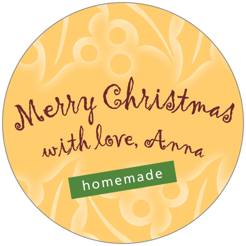 circle food/craft labels - deep gold - holly glow (set of 20)