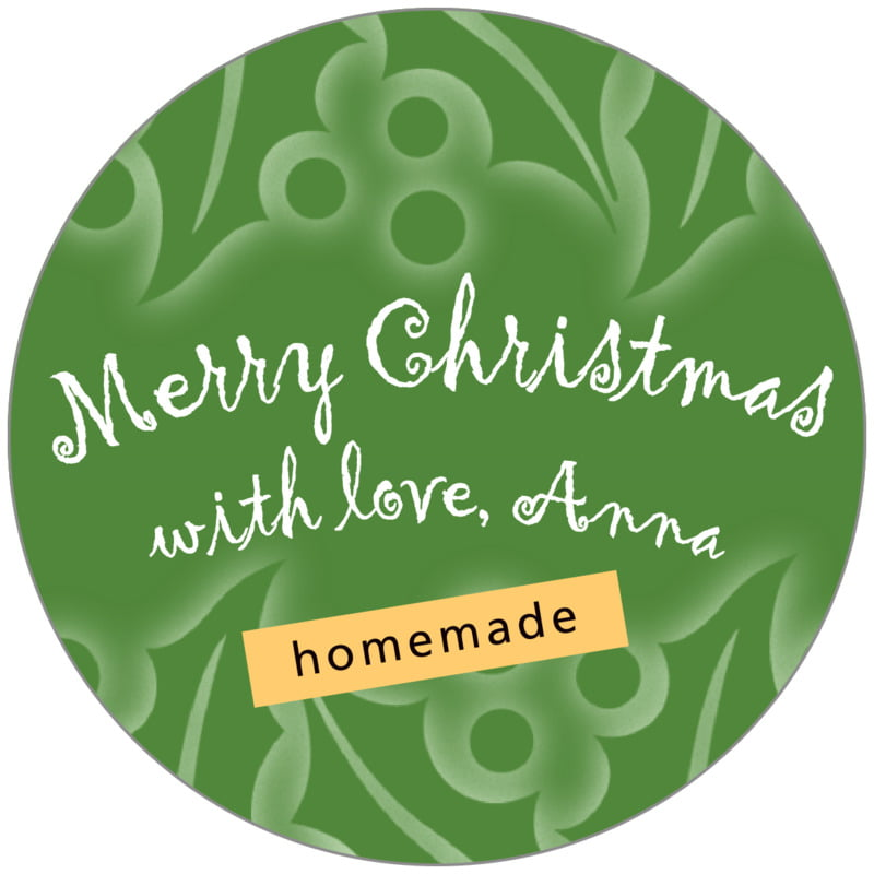 circle food/craft labels - green - holly glow (set of 20)