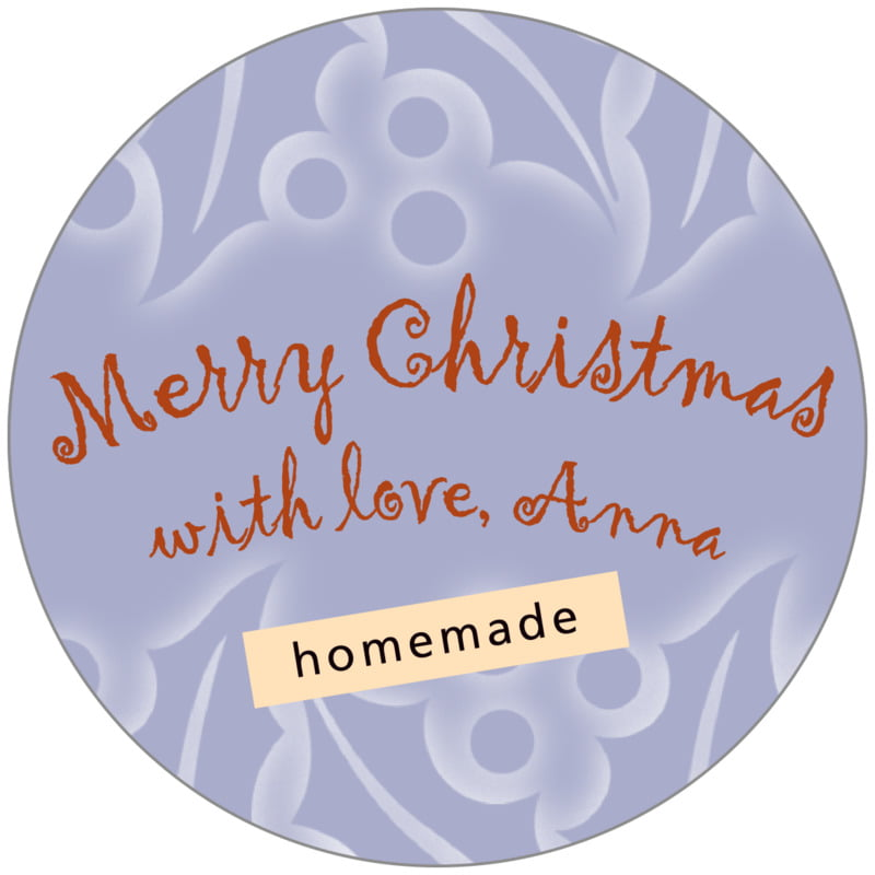 circle food/craft labels - pale blue - holly glow (set of 20)