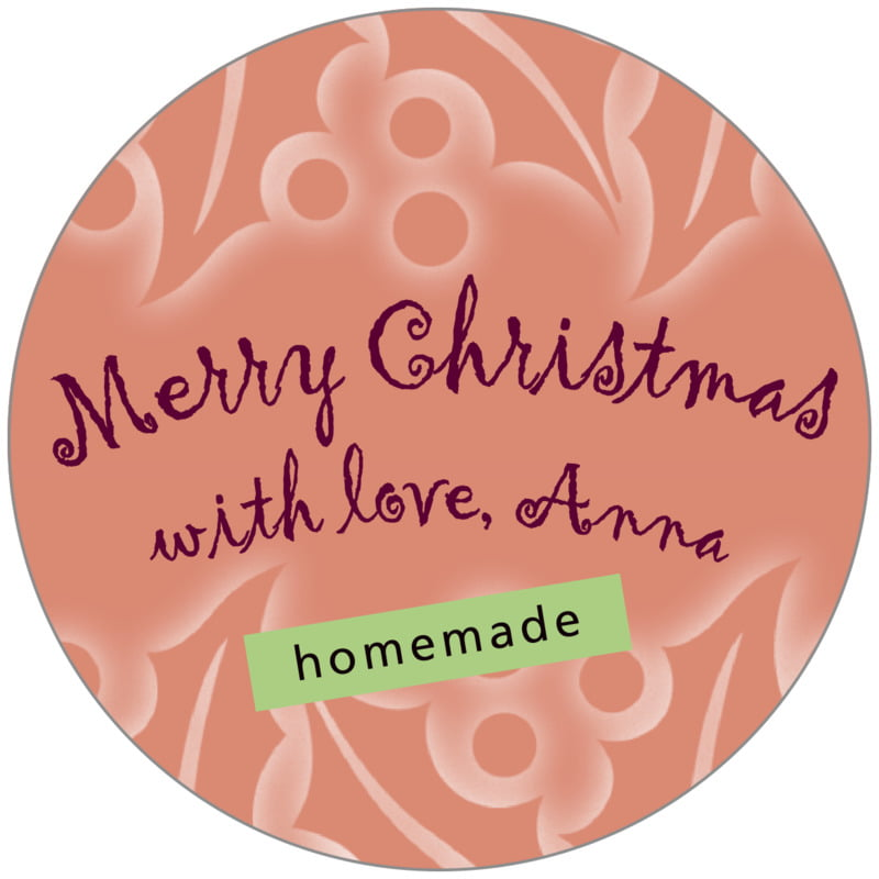 circle food/craft labels - pale cinnamon - holly glow (set of 20)