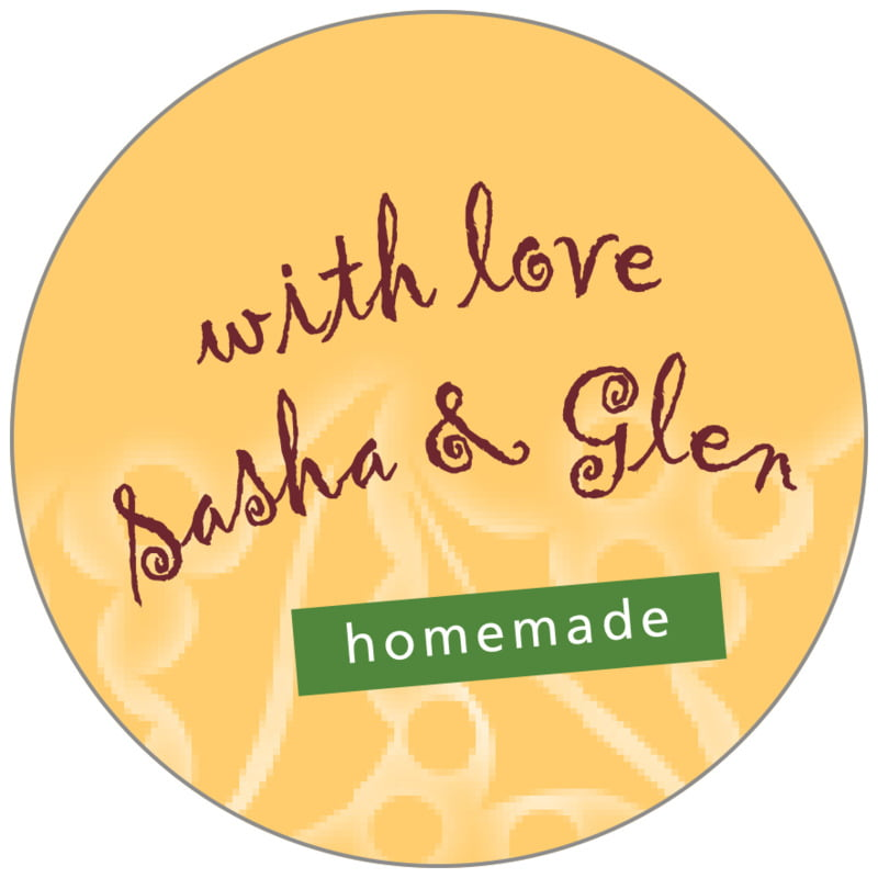 circle food/craft labels - deep gold - holly glow (set of 35)
