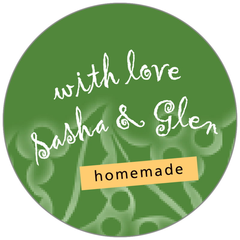 circle food/craft labels - green - holly glow (set of 35)