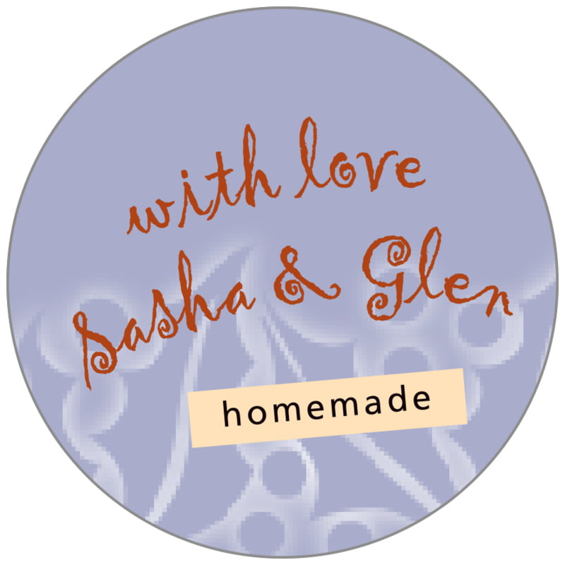 circle food/craft labels - pale blue - holly glow (set of 35)
