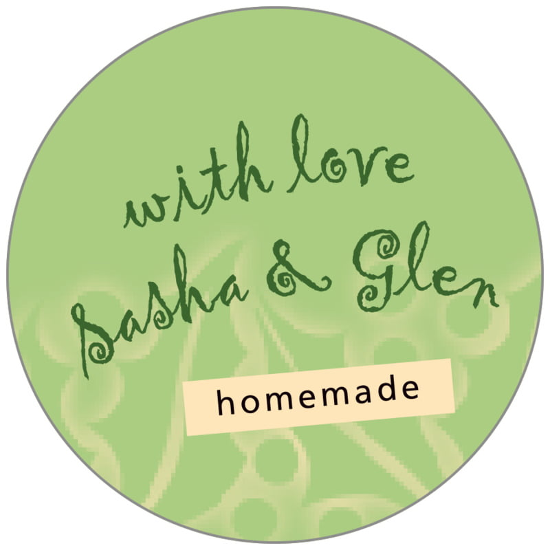 circle food/craft labels - green tea - holly glow (set of 35)