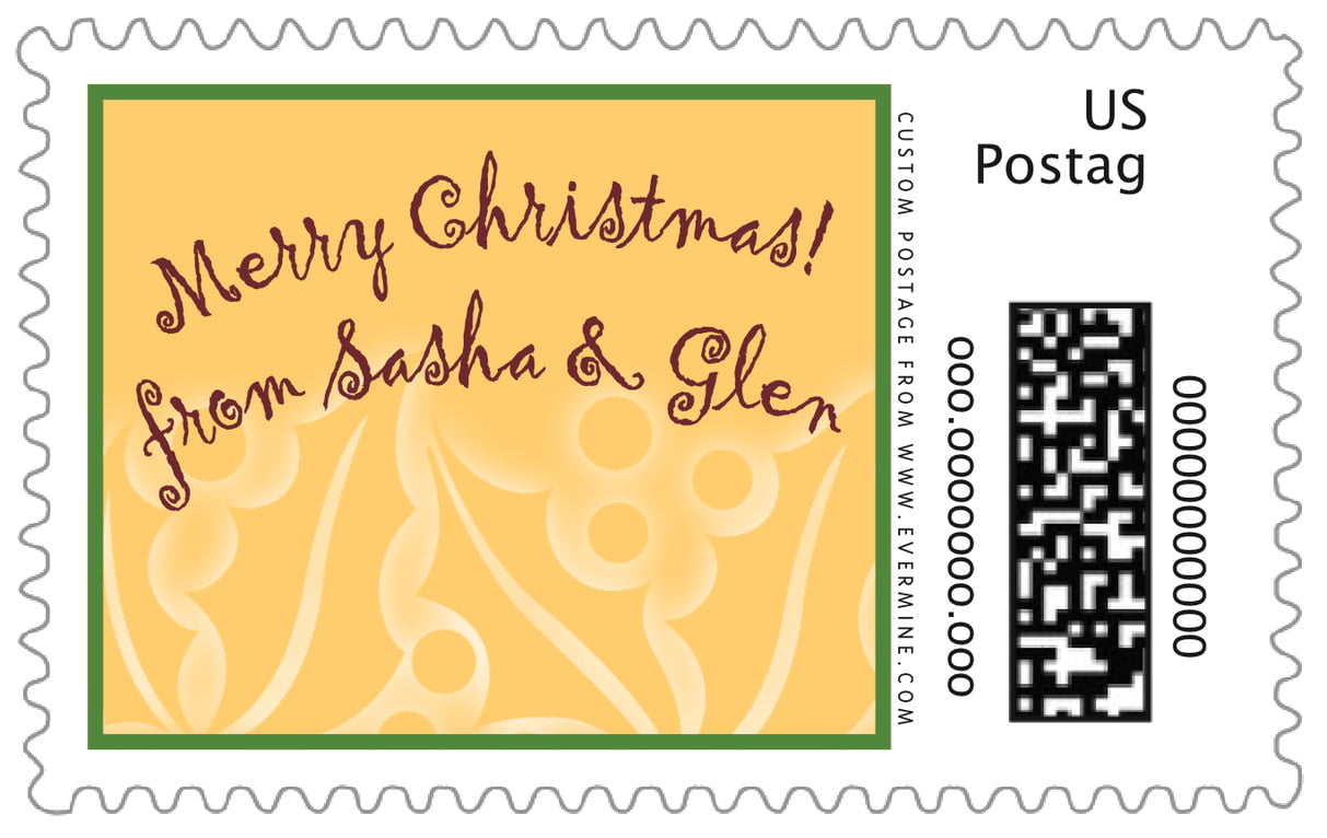 custom large postage stamps - deep gold - holly glow (set of 20)