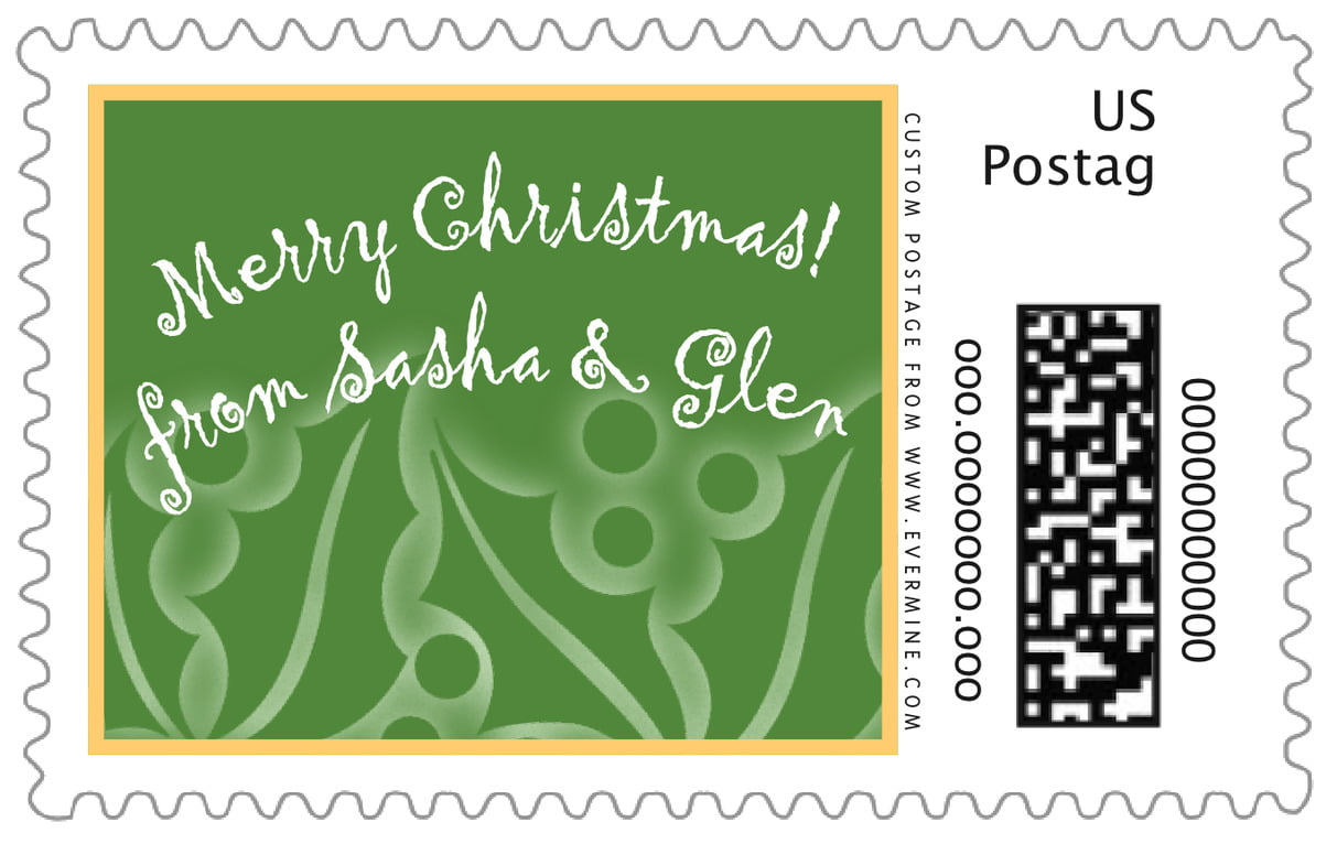 custom large postage stamps - green - holly glow (set of 20)