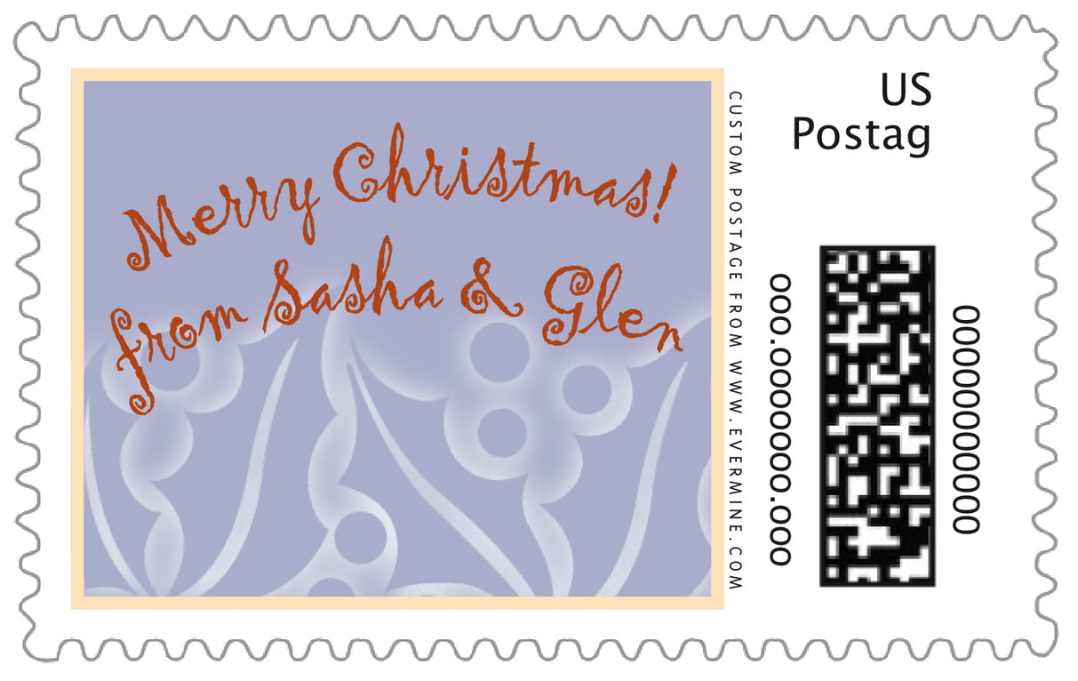 custom large postage stamps - pale blue - holly glow (set of 20)