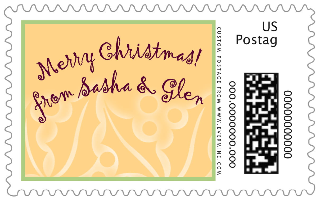 custom large postage stamps - sunflower - holly glow (set of 20)