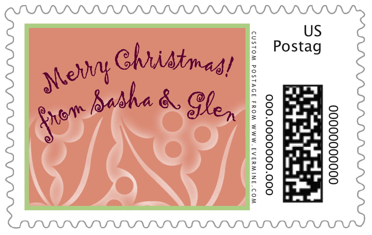 custom large postage stamps - pale cinnamon - holly glow (set of 20)