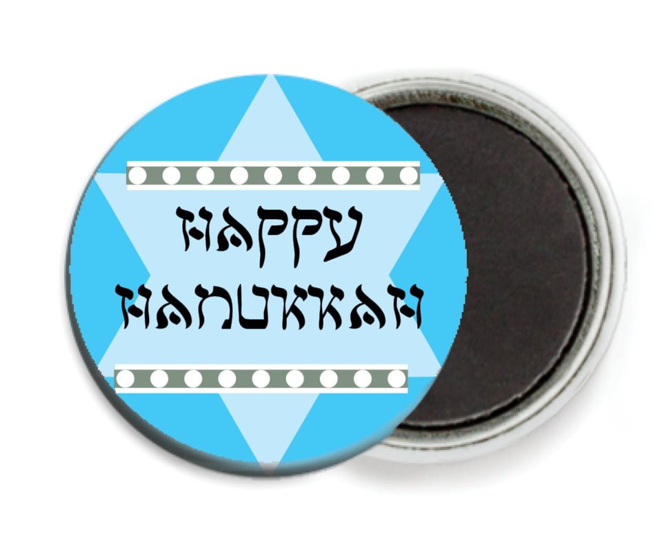 custom button magnets - ice blue - shalom (set of 6)