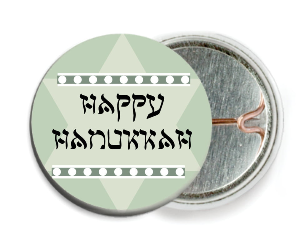 custom pin back buttons - sage - shalom (set of 6)