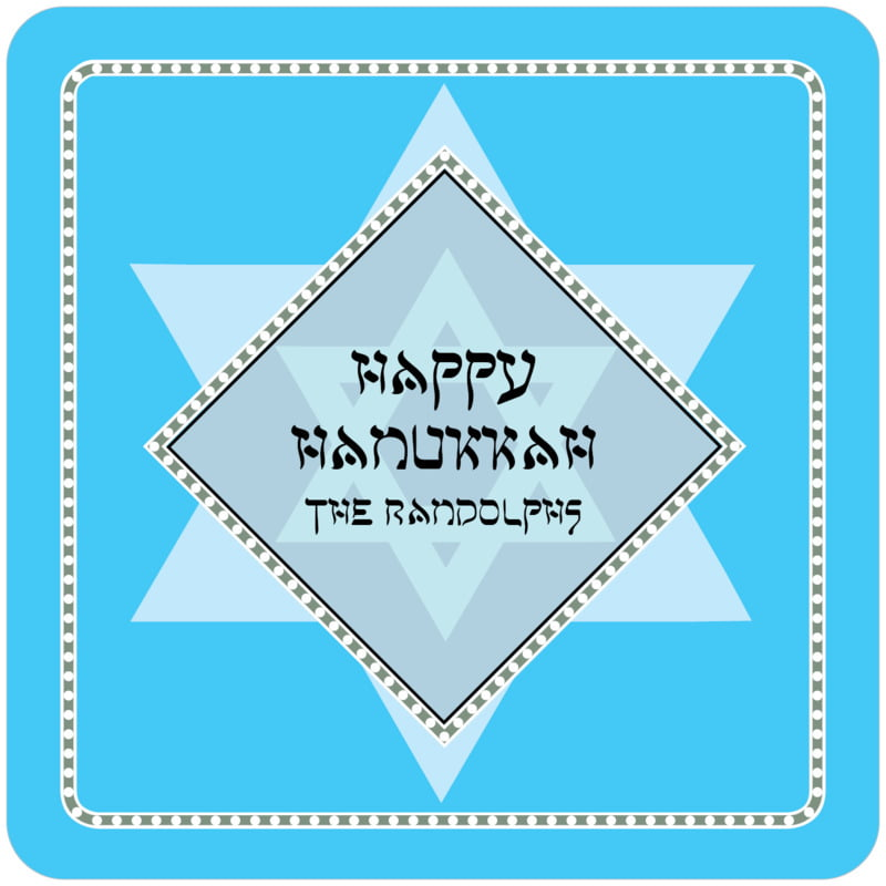 square holiday coasters - ice blue - shalom (set of 12)
