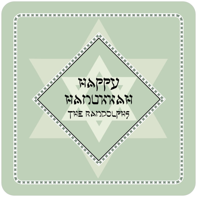 square holiday coasters - sage - shalom (set of 12)