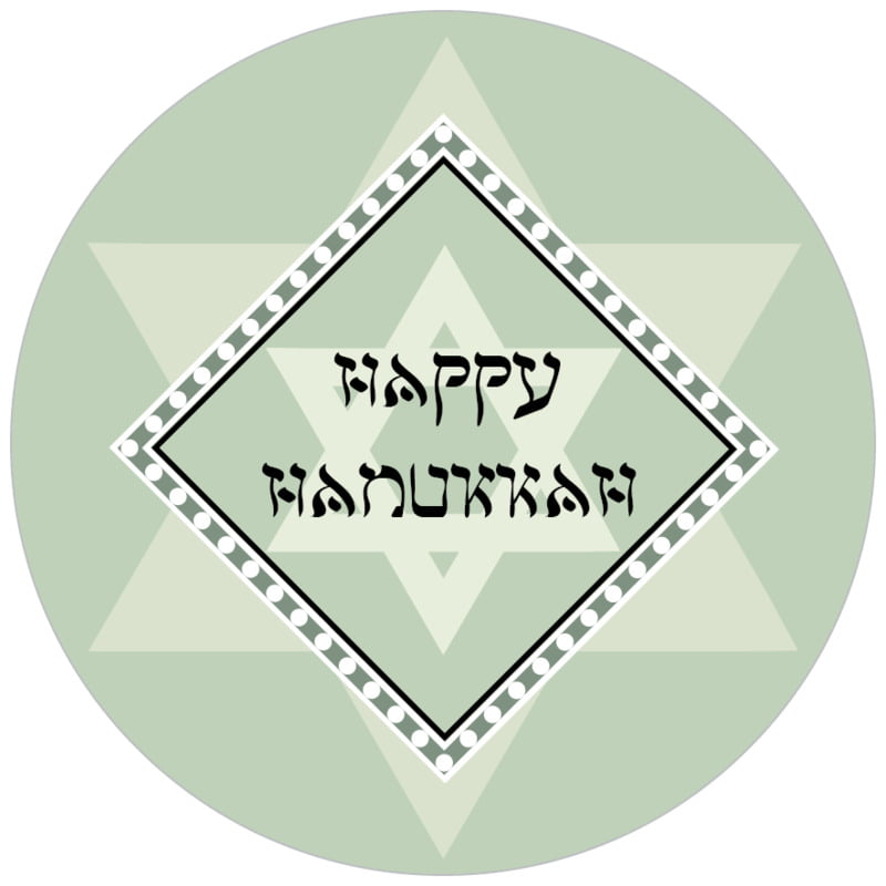 circle food/craft labels - sage - shalom (set of 35)