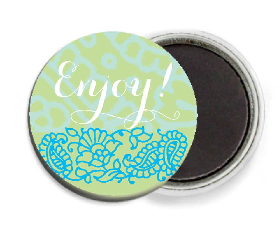 custom button magnets - pale green & turquiose - henna (set of 6)