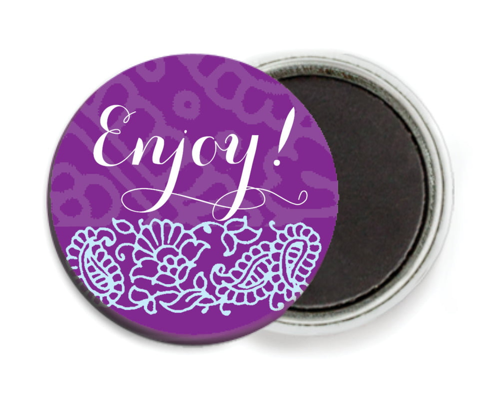 custom button magnets - plum & soft blue - henna (set of 6)