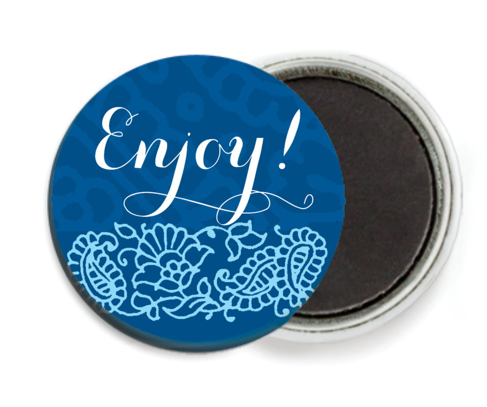custom button magnets - deep blue - henna (set of 6)