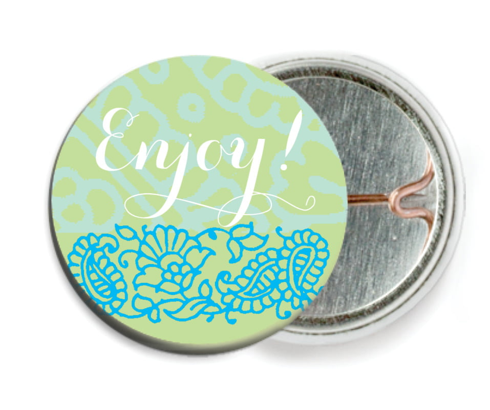 custom pin back buttons - pale green & turquiose - henna (set of 6)