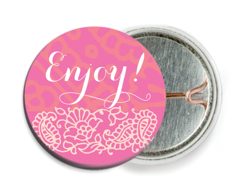 custom pin back buttons - pink & tangerine - henna (set of 6)