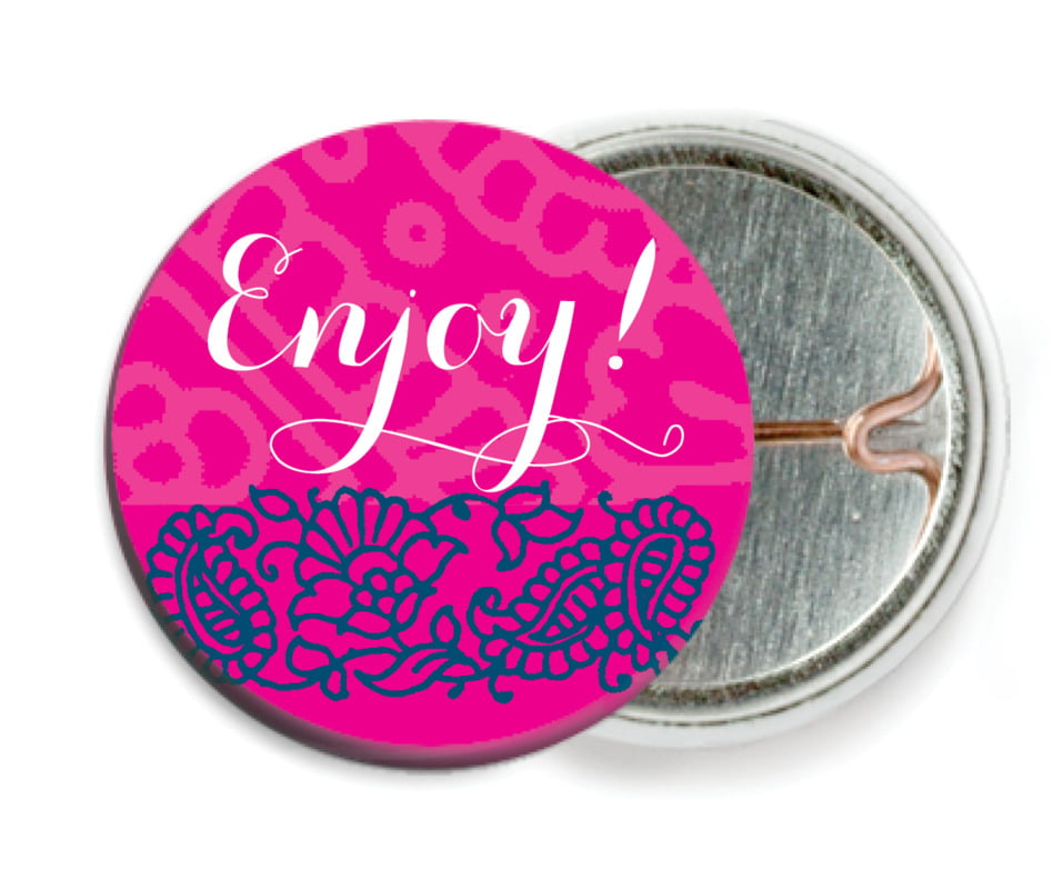 custom pin back buttons - bright pink - henna (set of 6)