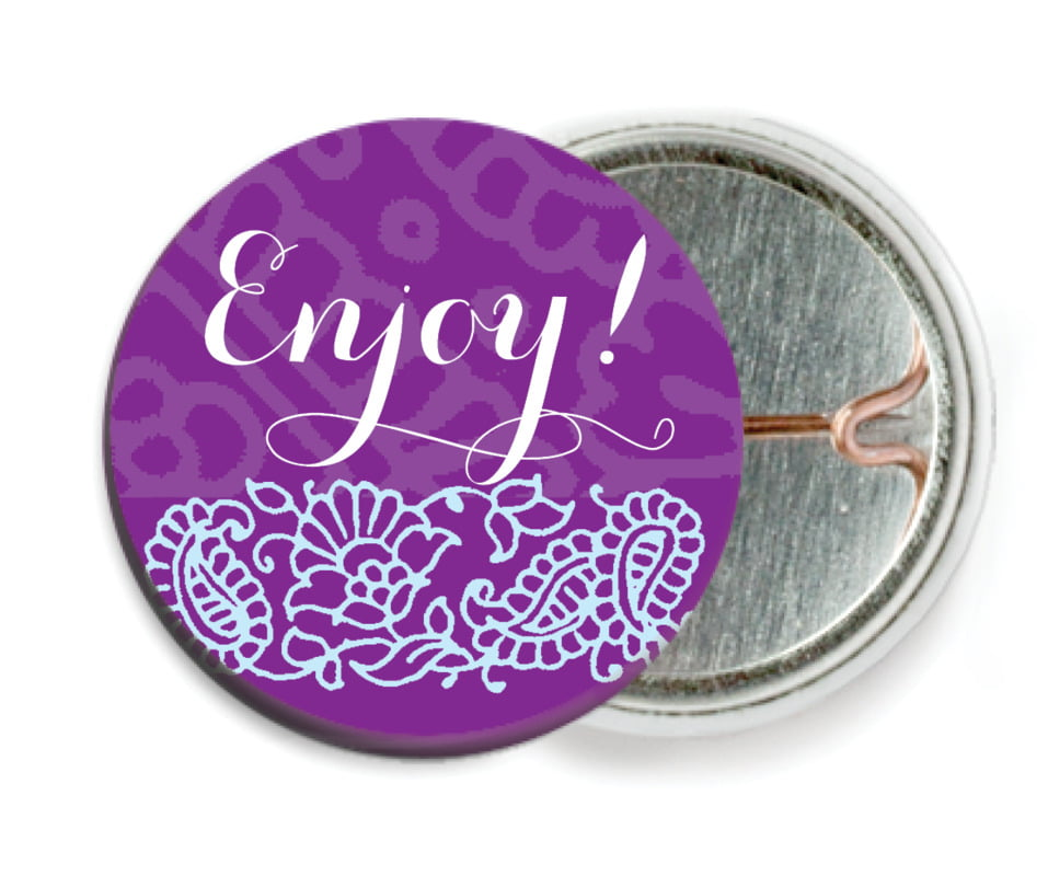 custom pin back buttons - plum & soft blue - henna (set of 6)