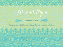 custom save-the-date cards - pale green & turquiose - henna (set of 10)