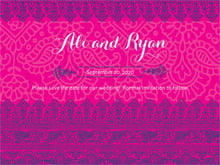 custom save-the-date cards - bright pink - henna (set of 10)