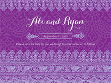 custom save-the-date cards - plum & soft blue - henna (set of 10)