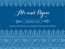 custom save-the-date cards - deep blue - henna (set of 10)