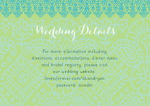 custom enclosure cards - pale green & turquiose - henna (set of 10)