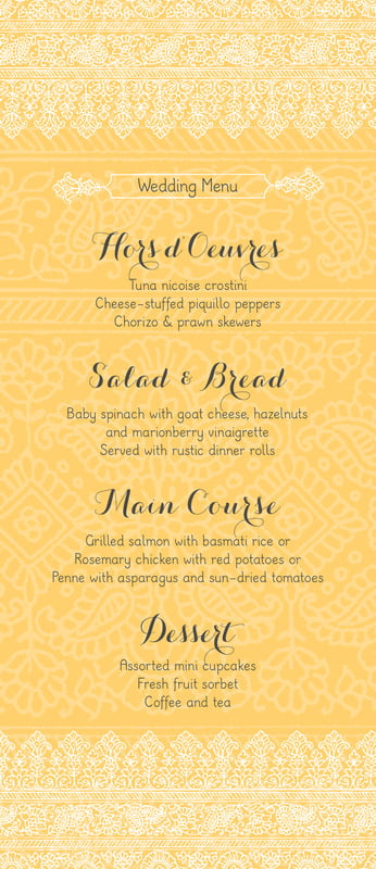 custom menus - sunburst - henna (set of 10)