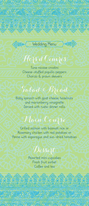 custom menus - pale green & turquiose - henna (set of 10)