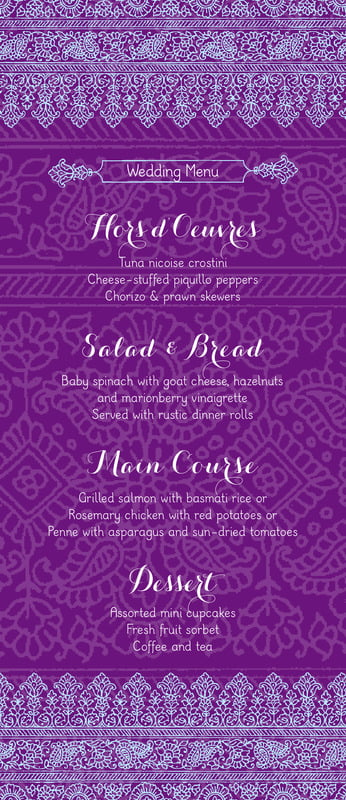 custom menus - plum & soft blue - henna (set of 10)