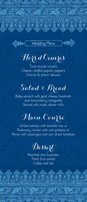 custom menus - deep blue - henna (set of 10)