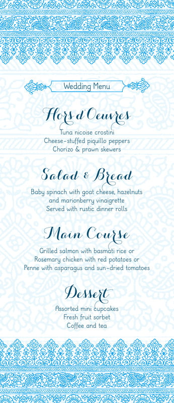 custom menus - sky - henna (set of 10)