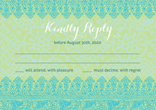 custom response cards - pale green & turquiose - henna (set of 10)