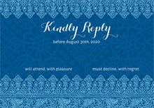 custom response cards - deep blue - henna (set of 10)