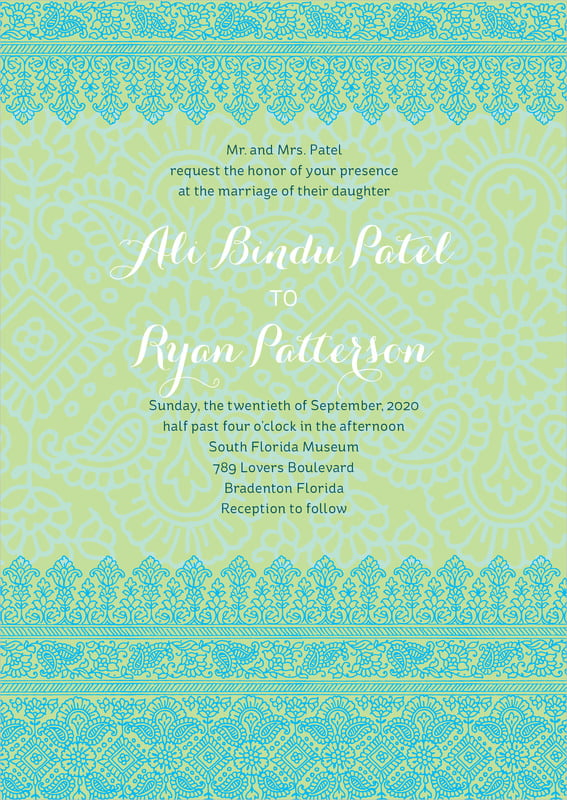 custom invitations - pale green & turquiose - henna (set of 10)
