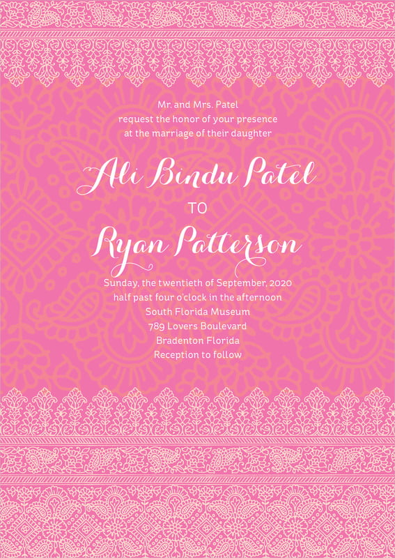 custom invitations - pink & tangerine - henna (set of 10)