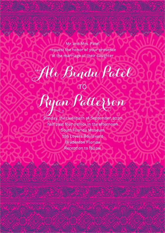 custom invitations - bright pink - henna (set of 10)