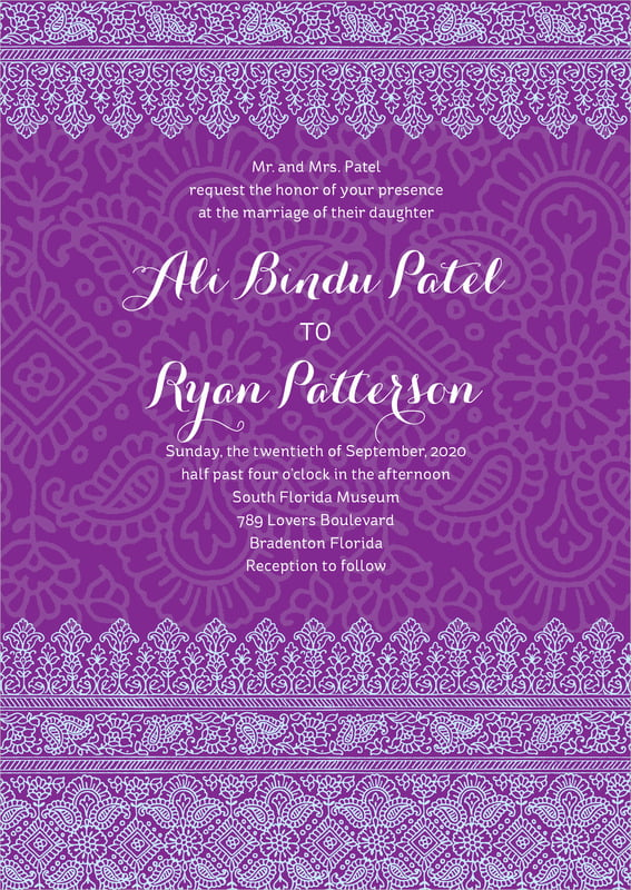 custom invitations - plum & soft blue - henna (set of 10)