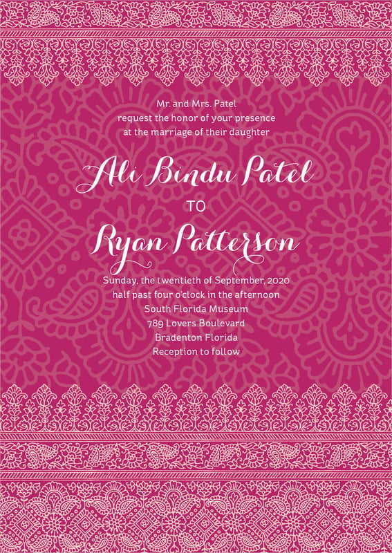 custom invitations - burgundy - henna (set of 10)