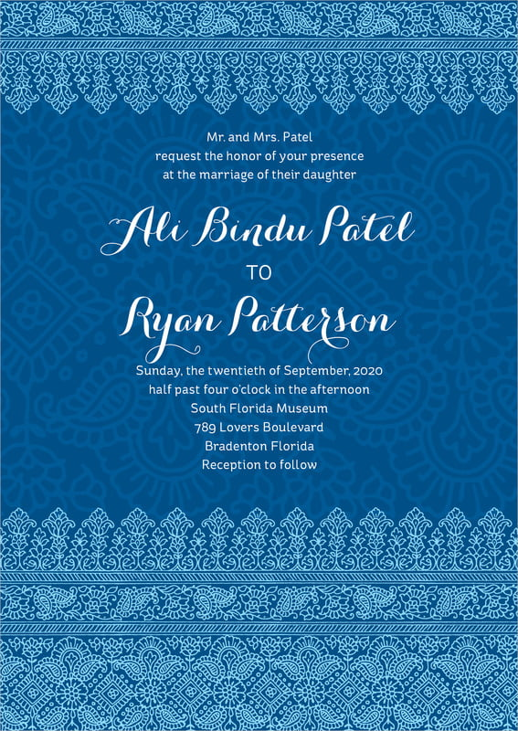 custom invitations - deep blue - henna (set of 10)