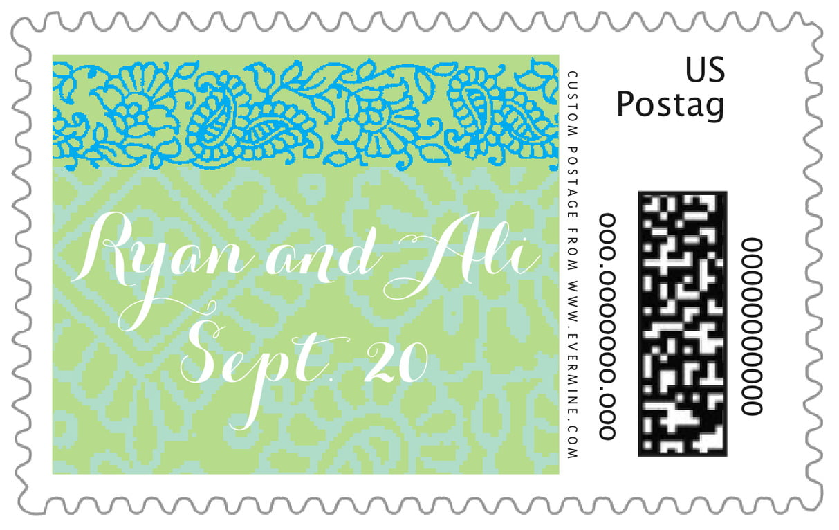 custom large postage stamps - pale green & turquiose - henna (set of 20)