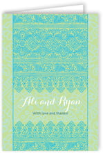 Henna Folding Card In Pale Green & Turquiose